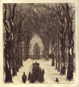 Der Rosengarten Bern als Friedhof, Radierung von Otto Rast (1890–1930)